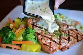 farm-raised salmon with dill sauce