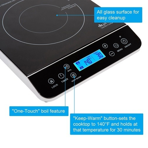 Duxtop 9600LS induction cooktop control panel with callouts