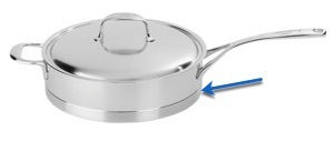 Demeyere Atlantis sauce pan with disc bottom callout