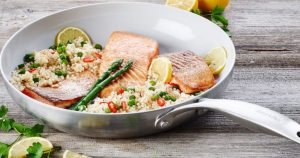 Green Pan Skillet with Salmon